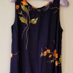 Teddi Blue Short Sleeved Dress with Flowers